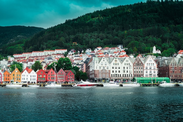 View from the pier to the city of bergen with colorful wooden houses