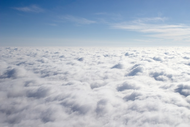 View from a plane on a closed cloud cover, a third of sky