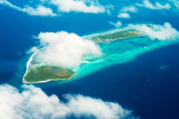 View from the plane of island in the maldives