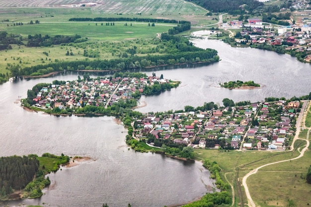 View from the plane to the surface of the earth - the volga river, russia, near the city of kazan