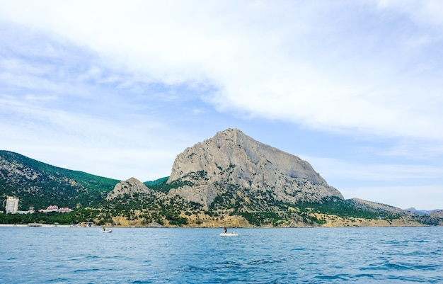 View from the sea on mount sokol crimea
