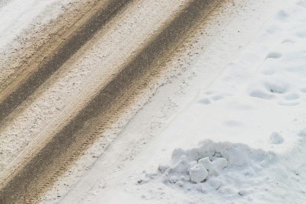 View from above to snowy road
