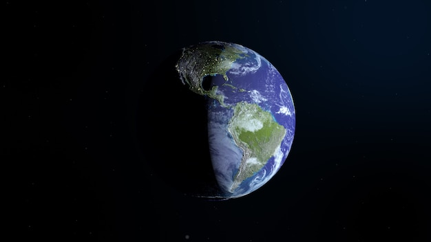 Вид из космоса на планету земля днем и ночью.