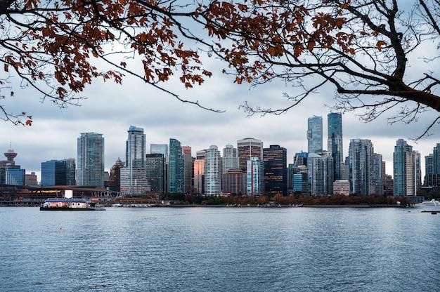 캐나다 밴쿠버 해안선 시내에 단풍나무가 있는 마천루와 조명 사무실 건물이 있는 스탠리 공원의 전망