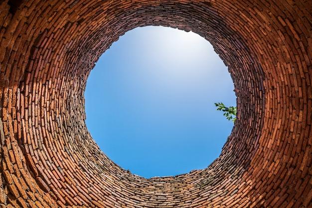 井戸の底から見る。