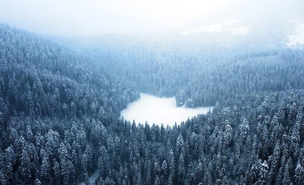 얼어붙은 산 호수에 무인 항공기에서 보기.
