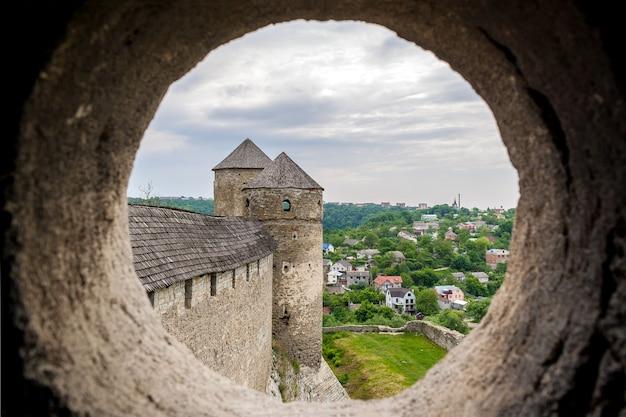 カミヤネツィポディルスキー要塞の塔の銃眼からの眺め