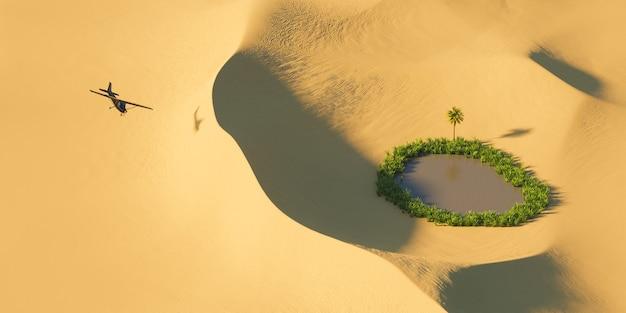 식물로 가득한 작은 오아시스가있는 사막 모래 언덕 위에 검은 비행기의 하늘에서 봅니다. 자유의 개념. 3d 렌더링