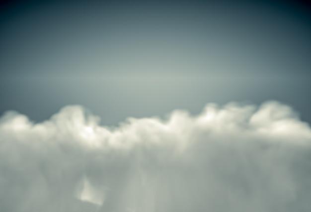 Вид сверху на освещенные солнцем пушистые облака. реалистичная 3d визуализация