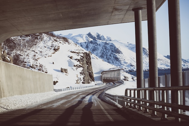 ノルウェーの山々のトンネルからの眺め。ロフォーテン諸島。ノルウェー。