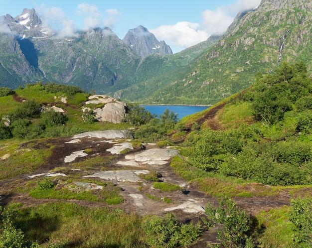 Austnesfjorden 휴게소, lofoten 군도, 노르웨이의 시점에서보기