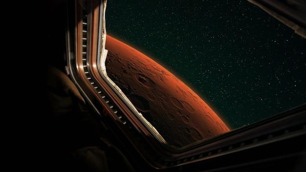 우주선 임무의 창에서 붉은 행성 화성을 봅니다. 우주선이 화성으로 날아간다는 컨셉입니다. 붉은 행성의 여행과 탐험