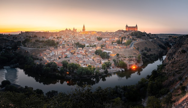 View from toledo with the famous alcazar and cathedral