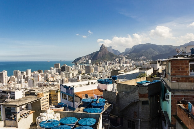 View from the top of cantagalo hill in ipanema in rio de janeiro.