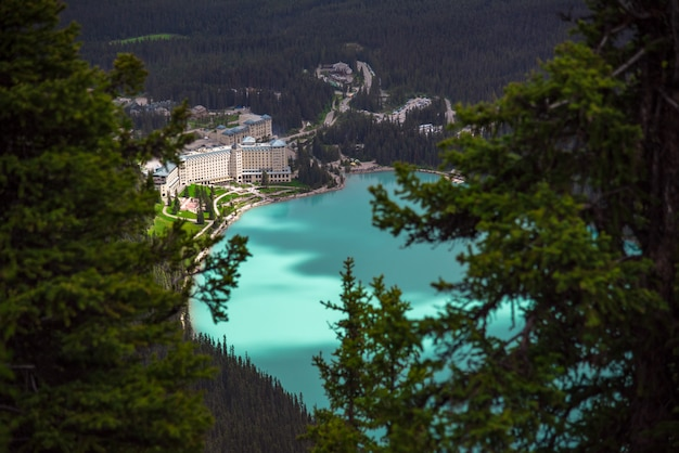 View from the top of the mountain of hotel at lake louise in alberta