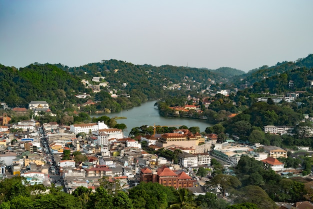 View from top of the mountain over kandy city