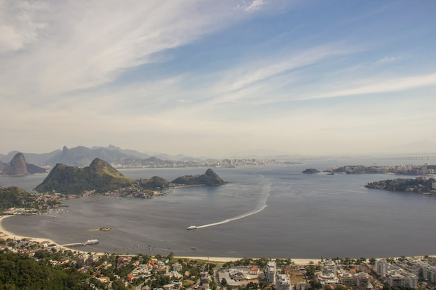 View from the top of the park of the city  of niteroi in rio de janeiro