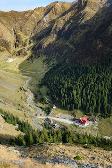 View from transfagarasan road down to valley, romania