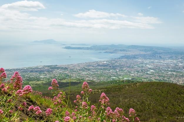 Вид с вулкана везувий в италии на побережье моря и город сверху