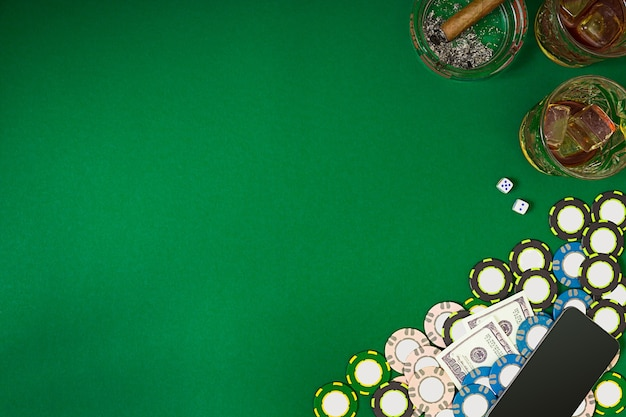 View from above with copy space banner template layout mockup for online casino green table top view...