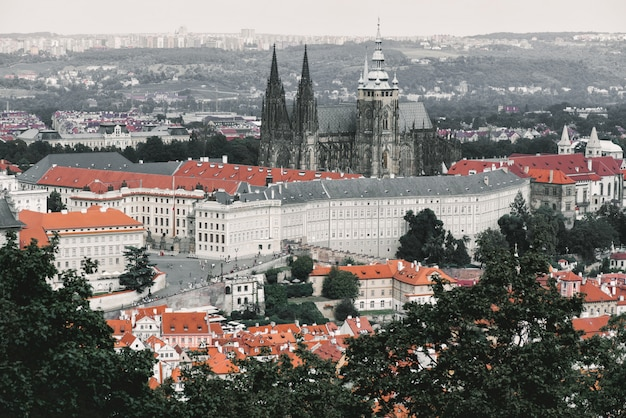 View from above with st. vitus cathedral. prague, czech republic