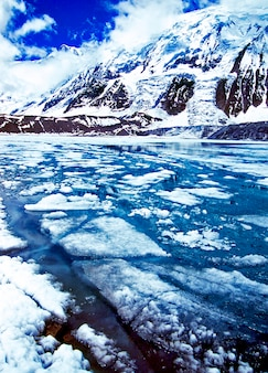 View of frozen tilicho lake himalayas landscape scenic