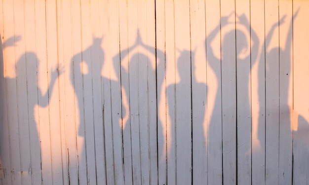 View of a fun photo of a group of friends making poses creating a shadow on a wooden wall.