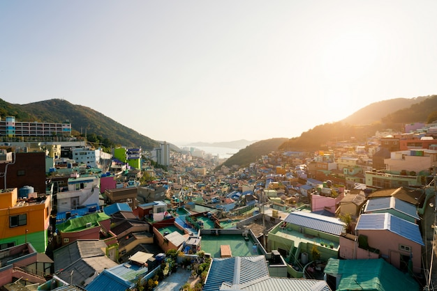 View of gamcheon culture village in busan, south korea.