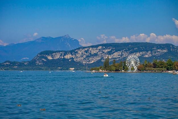 View of garda lake in italy from bardolino during summer
