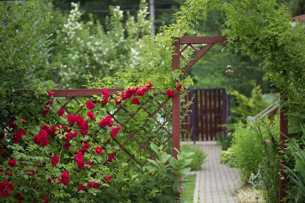 View of the garden landscape with red gates, wrapped in greenery and a hanging chinese bell in the foreground.