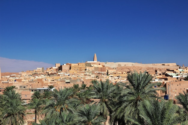 View on ghardaia city in sahara desert, algeria