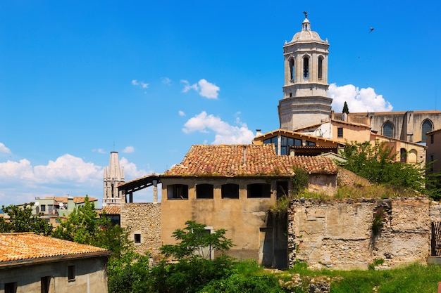View of girona with bell tower of gothic cathedra