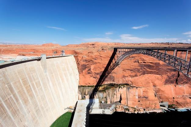 View of the glen dam and bridge in page, arizona, usa