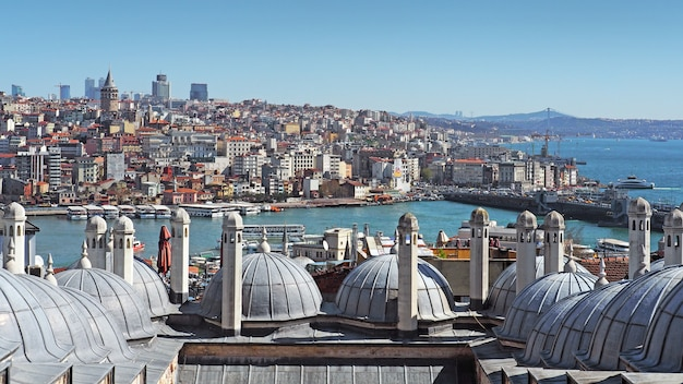 View over the golden horn or bosphorus strait of istanbul city through cupolas domes.