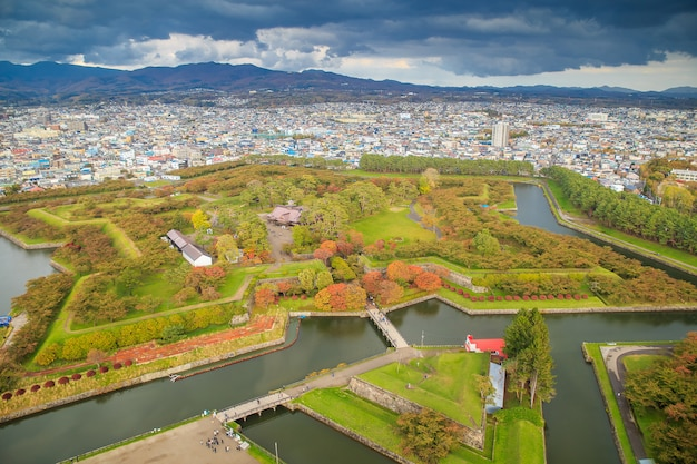 View of goryokaku park in hakodate, hokkaido japan.