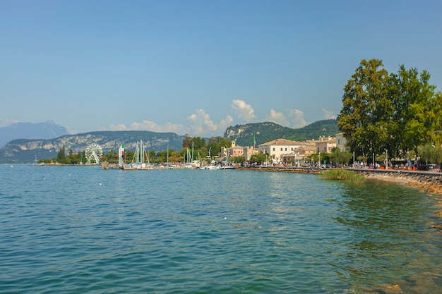 View of the grada lake from bardolino, a famous place in italy