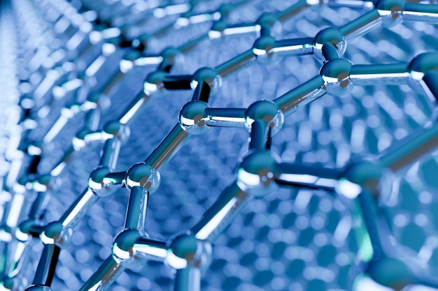 View of a graphene molecular nano technology structure on blue
