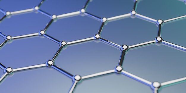 View of a graphene molecular nano technology structure onblue  ing