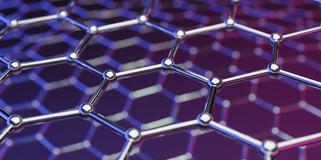 View of a graphene molecular nano technology structure onpurple-pink  ing