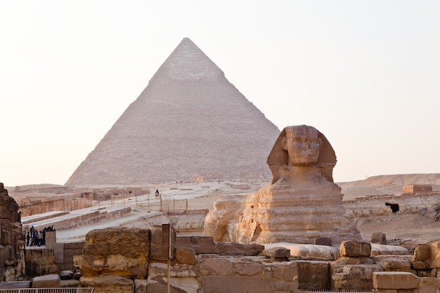 View of the grest sphinx and the great pyramid of giza in egypt.