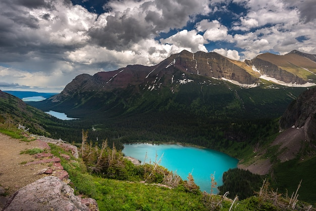 View of grinnell lake and the others from overlook