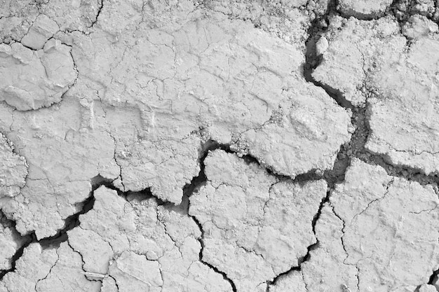 Above view of ground grey cracks in desert.