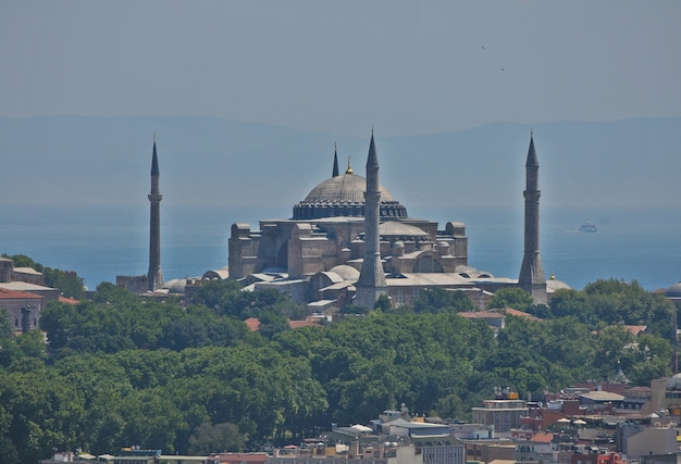View to hagia sofya from galata tower in istanbul