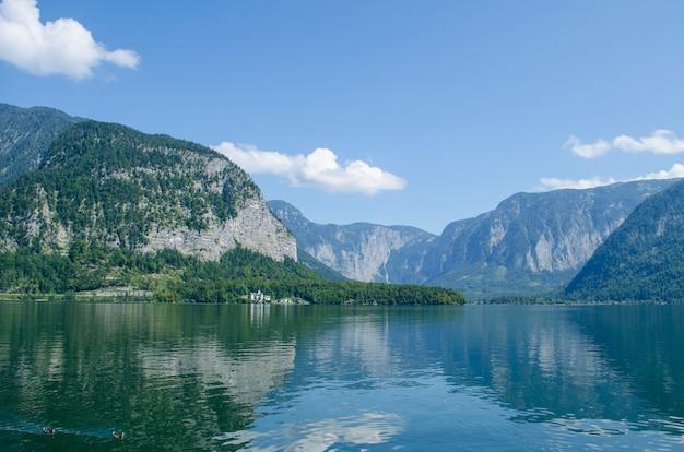 View of the hallstatt from lake hallstater see, austria