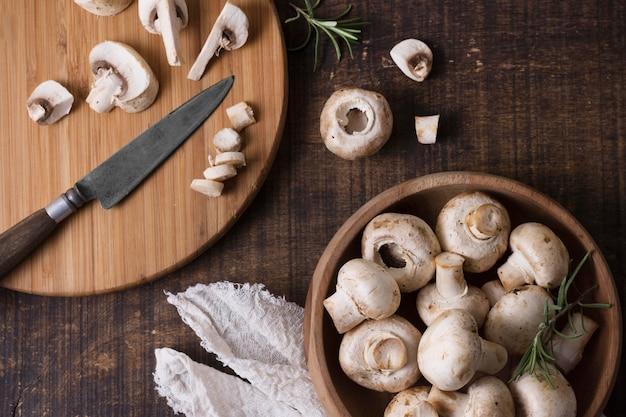 Above view healthy mushrooms arrangement