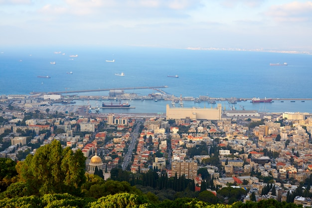 View on hifa city and mediterranean sea from above