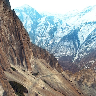 View of himalayas mountains from annapurna trek. man standing on the path