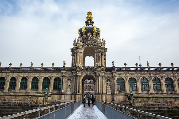View to the historical buildings of the famous zwinger palace in dresden, germany.