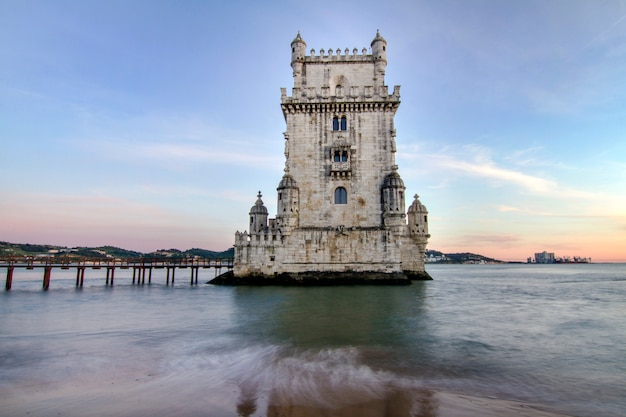 View of the historical landmark, tower of belem, located in lisbon, portugal.