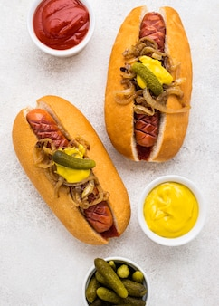 Above view hot dogs with mustard